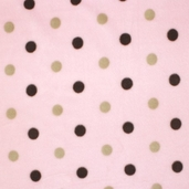 Baby Big Polka Dots Fleece Fabric - Pink