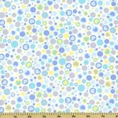 Baby Buddies Bubbles and Hearts Cotton Fabric - White 35125-1