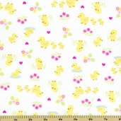 Baby Buddies Ducks Cotton Fabric - White 35121-1