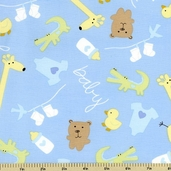 Baby Buddies Toss Cotton Fabric - Light Blue 35120-2