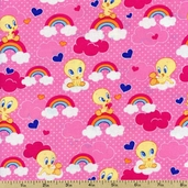 Baby Looney Tunes Clouds & Rainbow Cotton Fabric - Pink LT-2006-2C