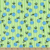 Baby Talk Rattles Cotton Fabric - Baby Blue