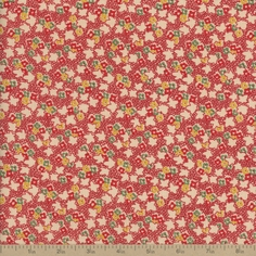 Back Porch Prints Floral Cotton Fabric - Red