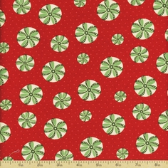 Back Porch Prints Peppermint Swirl Cotton Fabric - Red