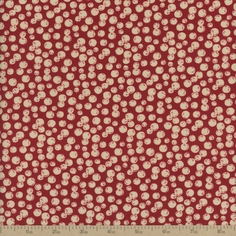 Back Porch Prints Snowballs Cotton Fabric - Red
