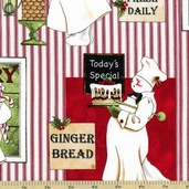 Baker's Dozen Chef Vignettes Cotton Fabric - Red