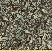 Bali Batik Damask Leaf Cotton Fabric - Chestnut
