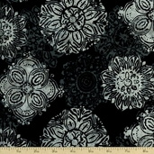 Bali Batiks Floral Medallion Cotton Fabric - Pewter