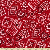 Bandana Cotton Fabric - Red