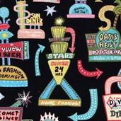 Barbara's Diner Cotton Fabric - Black