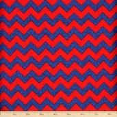 Barnegat Bay Chevron Stripes Cotton Fabric - Blue/Red