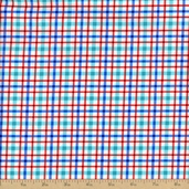 Barnegat Bay Plaid Cotton Fabric - Blue/Red