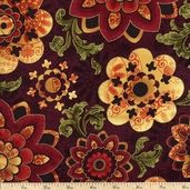 Barolo Medallion Cotton Fabric - Burgundy