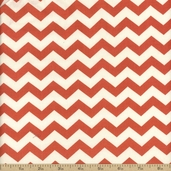 Basics Collection Chevron Cotton Fabric - Coral