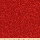 Basics Collection Curly Motif Cotton Fabric - Red T-00210