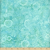 Batavian Batiks Garden Party Cotton Fabric - Aqua/Green