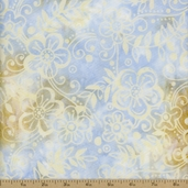 Batavian Batiks Medium Floral Vine Cotton Fabric - 106 Inch - Lt. Blue/Cream