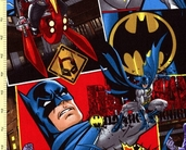 Batman Battle Over Gotham Cotton Fabric - Action Squares
