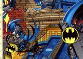 Batman Battle Over Gotham Cotton Fabric - Gotham City