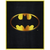 Batman Emblem Panel Fleece Fabric - Black