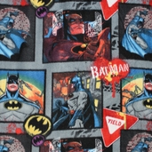 Batman Fleece Yeild Sign And Graffiti Polyester Fabric - Grey