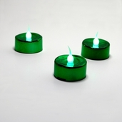 Battery Operated LED Tealights - Metallic Green