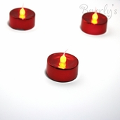 Battery Operated LED Tealights - Metallic Red