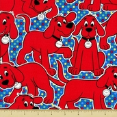 Be Big Cotton Fabric - Clifford Allover - Bright - CLEARANCE