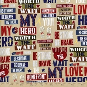 Be Strong, Be Brave Phrases Set Cotton Fabric - Cream