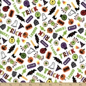 Be Witched Boo! Cotton Fabric - White