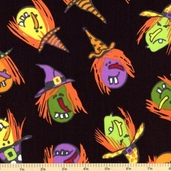 Be Witched Cotton Fabric - Black Witches A-5713-K - Clearance