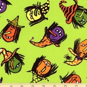 Be Witched Cotton Fabric - Green Witches A-5713-G