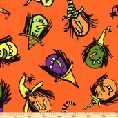 Be Witched Cotton Fabric - Orange Witches A-5713-O - Clearance