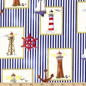 Beacon Cove Lighthouse Cotton Fabric - Light Blue 39011-11