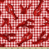 Beacon Cove Lobsters Cotton Fabric - Red 39013-15