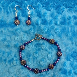 Beaded Bracelet and Earrings