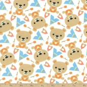 Bear Camping Flannel Fabric - White