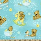 Bear Hugs Cub Toss Flannel Fabric - Blue