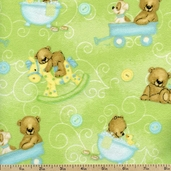 Bear Hugs Cub Toss Flannel Fabric - Green