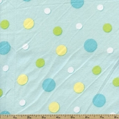 Bear Hugs Polka Dot Flannel Fabric - Blue