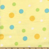 Bear Hugs Polka Dot Flannel Fabric - Yellow