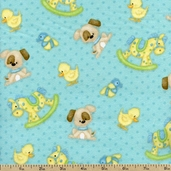 Bear Hugs Pup Toss Flannel Fabric - Blue