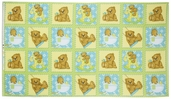 Bear Hugs Squares Flannel Fabric - Green