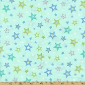Bear Hugs Stars Cotton Fabric  - Blue R21-7953-0156