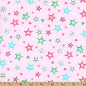 Bear Hugs Stars Cotton Fabric - Pink R21 7953 0126