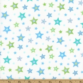 Bear Hugs Stars Cotton Fabric - White/Blue R21 7953 0150