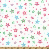 Bear Hugs Stars Cotton Fabric - White/Pink R21 7953 0125