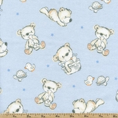 Bears and Buddies Bear Toss Flannel Fabric - Blue