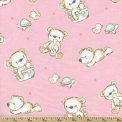 Bears and Buddies Bear Toss Flannel Fabric - Pink