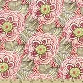 Beauty is You Cotton Fabric Rainbow Flowers - Pink